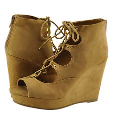 Women's Shoes Bamboo Parker 43S Lace Up Peep Toe Platform Wedge Tan FS *New*
