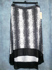 New MICHAEL KORS  womens black pethon skin print  asymmetrical skirt-sz L-$99.5