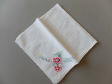 "Vintage Off White Linen Light Handkerchief 9.5"" x 9"" Embroidered Floral Corner"