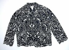 Chico's Design Black White Embroidered Blouse Jacket 1 Eyelet Top Cut-out Womans
