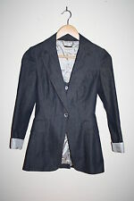 Karen Millen Classic Jacket Graphite Striped Women's Fashion Designer Size 6