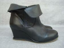 LOTUS UK 6 1/2 BLACK LEATHER WITH TURN OVER TOP WEDGE ANKLE BOOTS
