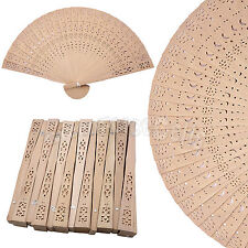 12 pcs Chinese Folding Fragrant Wooden Hand Fan Moon Star Pattern Vintage Gift