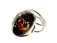 CERTIFIED UNIQUE BALTIC AMBER & 925 STERLING SILVER RING - RG0583