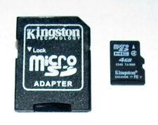 1 Used Kingston 4GB MicroSDHC Memory Card & 1 Used Kingston Adapter Guarantee