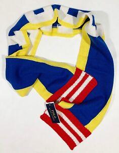 Men's POLO RALPH LAUREN Stadium Ski Colors Logo Scarf Muffler NWT NEW NiCe!