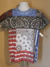NEW Womens T-Shirt Size Small Top Distressed Bandana Black Red Blue Paisley