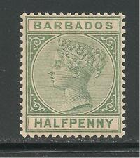 Barbados #60 (A6) SG #89 VF MINT VLH - 1882-85 1/2p Queen Victoria