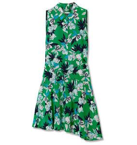 Marcs New Green Multi Silk Hibiscus Print Dress Size 14 BNWT