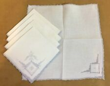 Five Vintage Dinner Napkins, Linen, Flower Embroidery & Cut Work, White, Lt Blue