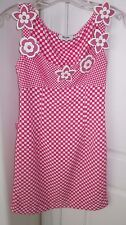 Moschino Jeans Hot Pink Checkered With 7 Snap on Plastic Flowers Sz USA 4 Dress