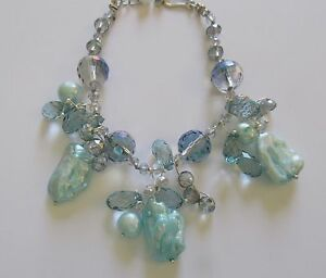 "Bracelet-Freshwater Pearls-baroque turquoise color- blue beads- 7.5"" - 9"""