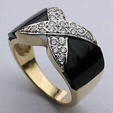 14k Yellow Gold Onyx Ring with 22 Diamonds G-VS2