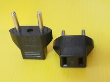 2 X Adapter Plug US USA to Euro EU Round 2 Pin Travel Converter AC110-220V