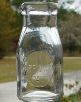 Antique -To Be Washed And Returned- 8oz Cup Half Pint Clear Milk/Cream Bottle