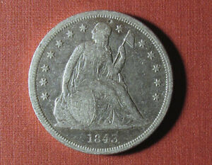 1843 SEATED LIBERTY DOLLAR - POLISHED COIN WITH STRONG DETAILS, VERY BRIGHT