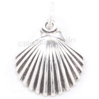 SEA SHELL Charm scallop shell Pendant Seashell Beach Sterling Silver 3D 925