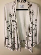 LUCKY LOTUS {Lucky Brand} Women's SMALL Cream Aztec Embroidered CARDIGAN Boho