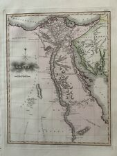 1813 EGYPT BEAUTIFUL ORIGINAL ANTIQUE HAND COLOURED MAP BY SAMUEL NEELE