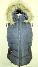 Bongo Womens Quilted Puffer Hooded Faux Fur Winter Zip Vest M Juniors Navy