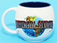 Universal Studios Embossed Large Ceramic Cup Mug White Blue Logo EUC
