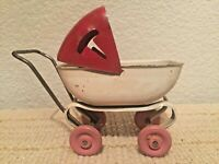 Doll Baby Buggy Carriage Vintage 1930s Wyandotte Pressed Steel Wooden Wheels