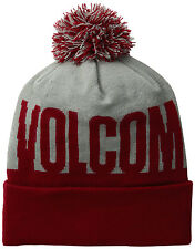 Volcom Men's Stoned Rolled Cuff Beanie Cap Winter Hat - Red / Gray