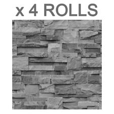 Grey Charcoal Slate Wallpaper 3D Effect Stone Brick Wall Textured Viny 4 Rolls
