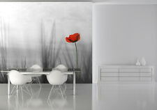Grande photo papier peint chambre & salon mural nature coquelicot rouge fleur