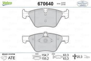 Valeo Fron Brake Pads670640 fits BMW 5 Series F10 520i 528i 520d