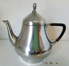 vintage RIO TIEL Pewter TEAPOT Made in Holland Bamboo handle Zuiver 8 in tea pot