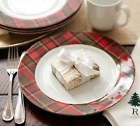 POTTERY BARN Carson Plaid Tartan Rim Dinner Plates SET/4