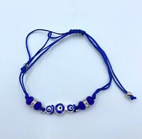 Pulsera mal de ojo hombre mujer azul y plateada nuevo amuleto suerte nazar moda