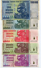 Zimbabwe 1 50 100 200 500 Million Dollars 2008 VF currency inflation 5 bill set