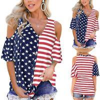 Womens Stripes Star T Shirt American Flag Print Cold Shoulder Button Blouse Top
