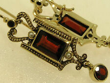 CE329 - GENUINE 9ct Solid Yellow Gold NATURAL Garnet & Pearl Drop Earrings