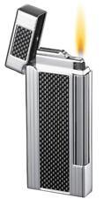 NEW Caseti Chrome & Black Carbon Fibre Soft Flame Lighter 105917