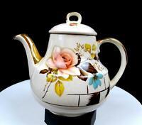 "GIBSONS STAFFORDSHIRE ENGLAND PINK ROSE AND GILT 6 5/8"" TEA POT 1950'S"