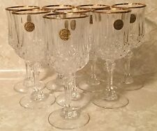 """Crystal D'Arques Durand Longchamp Gold Water Goblet 7"""" Clear Lead Crystal Set 8"""