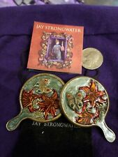 Jay Strongwater Enamel Orchid and Butterfly Vintage Mirrors Ring Holders Pair