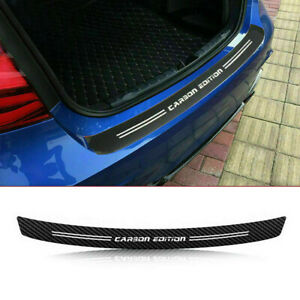 4D Carbon Fiber Rear Trunk Bumper Guard Accessories Decal Sticker Moulding Trim
