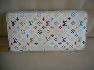 AUTHENTIC LOUIS VUITTON WHITE MULTICOLORE ZIPPY WALLET CLUTCH