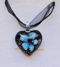Stunning Turquoise Murano Glass Heart Pendant On A Ribbon With Flower.-)