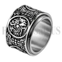 Stainless Steel Mens Rotatable 4 Great Beasts Lucky Wedding Ring Band Size 7-13