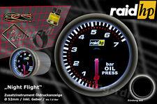 Raid hp Nightflight Öldruck Anzeige Zusatz Instrument 52mm Schwarz Glas /+Sensor