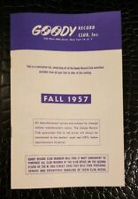 Vintage GOODY RECORD CLUB Magazine ~ Fall, 1957
