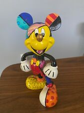"Romero Britto Disney Enesco  Mickey Mouse With Gold Nose 8"" 4019372, pre owned"