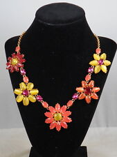 Kate Spade Gold BRILLIANT BOUQUET Yellow Coral Flower Collar Necklace $168