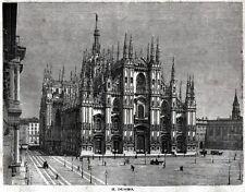 Milano: il Duomo. Grande Veduta. Lombardia. Stampa Antica + Passepartout. 1887