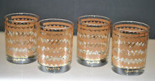 VINTAGE MID CENTURY GEORGES BRIARD GEOMETRIC DESIGN DOUBLE OLD FASHION GLASSES